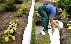 Dodatkowo na brzegu trawnika wykonujemy odwodnienie liniowe zakopując rurę drenacyjną odprowadzającą nadmiar wody
