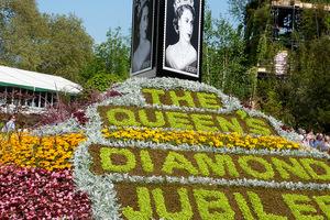 Kompozycja kwietna z okazji diamentowego  jubileuszu królowej Elżbiety II, fot. Sebastian Cholewa