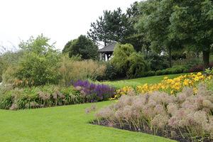Proporcje trawnika i rabat można wyrównać tworząc w zbyt rozległym trawniku różne rabaty wyspowe