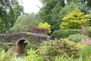 Kamienny mostek, a w oddali drzewa o jaskrawym ulistnieniu