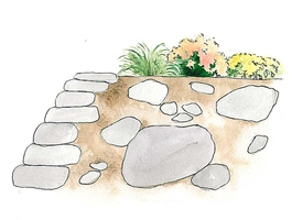 """Typowy, niewielki """"skalniak"""" jak już wspomniałam, nie powinien być umiejscowiony na terenie płaskim, nie powinien być też w kształcie kopca """"najeżonego"""" kamieniami"""