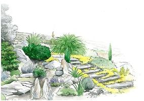 Ogród skalny połączony ze schodami