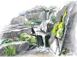 Urokowi ogrodowi skalnemu dodadzą strumienie, wodospady lub staw w najniższym miejscu