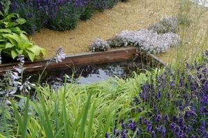 Brzegi zbiornika umocniono drewnianymi deskami