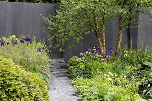 Szare, lite ogrodzenie wygląda masywnie, ale jednocześnie doskonale eksponuje piękne rośliny