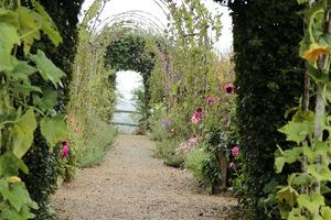 Widok ścieżki prowadzącej do ogrodu pod łukami z leszczyny