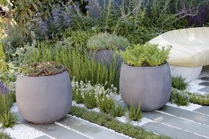 Nowoczesne, ciekawe w kształcie donice z niskimi roślinkami typu dywanowego