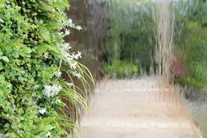 Woda płynąca po lustrzanej ścianie i pionowy ogród wertykalny