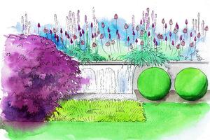 Wizualizacja Gardenarium. W pobliżu miejsca do siedzenia warto zainstalować niewielki element wodny. Kompozycja roślinna utrzymana w jednolitej tonacji fioletowej