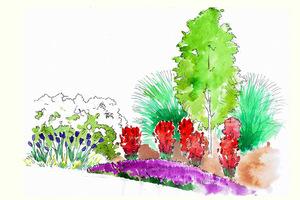 Wizualizacja Gardenarium. Jedno drzewo, ale w otoczeniu bujnej kompozycji roślinnej