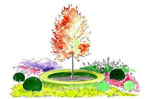 Wizualizacja Gardenarium. Grujecznik w obwódce ze złocistego bukszpanu