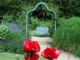 Romantyczny zakątek z żeliwną ławką pomalowaną na niebiesko