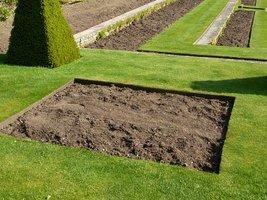 Brzegi trawnika obłożone cienkimi drewnianymi listwami zapobiegają przerastaniu murawy na rabaty