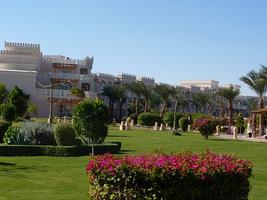 Rozległy, hotelowy ogród