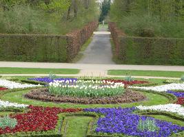 W parku wytyczono koliste trawniki z fontannami i rzeźbami, ścieżkami obsadzonymi grabowymi żywopłotami