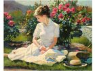 Nowoczesny obraz olejny pejza pi kna kobieta z motylem r e czerwone i zielone drzewa abstrakcyjna.jpg 640x640