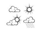 Czer  kontury chmury i s o ce r wnie  zwr ci  corel ilustracji wektora 57709024